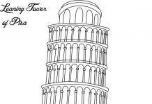 Leaning Tower of Pisa Colouring Page