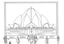 Lotus-Temple-New-Delhi-Drawing-1024x808
