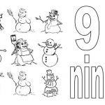 Learn-Number-9-with-Nine-Snowman-Coloring-Page