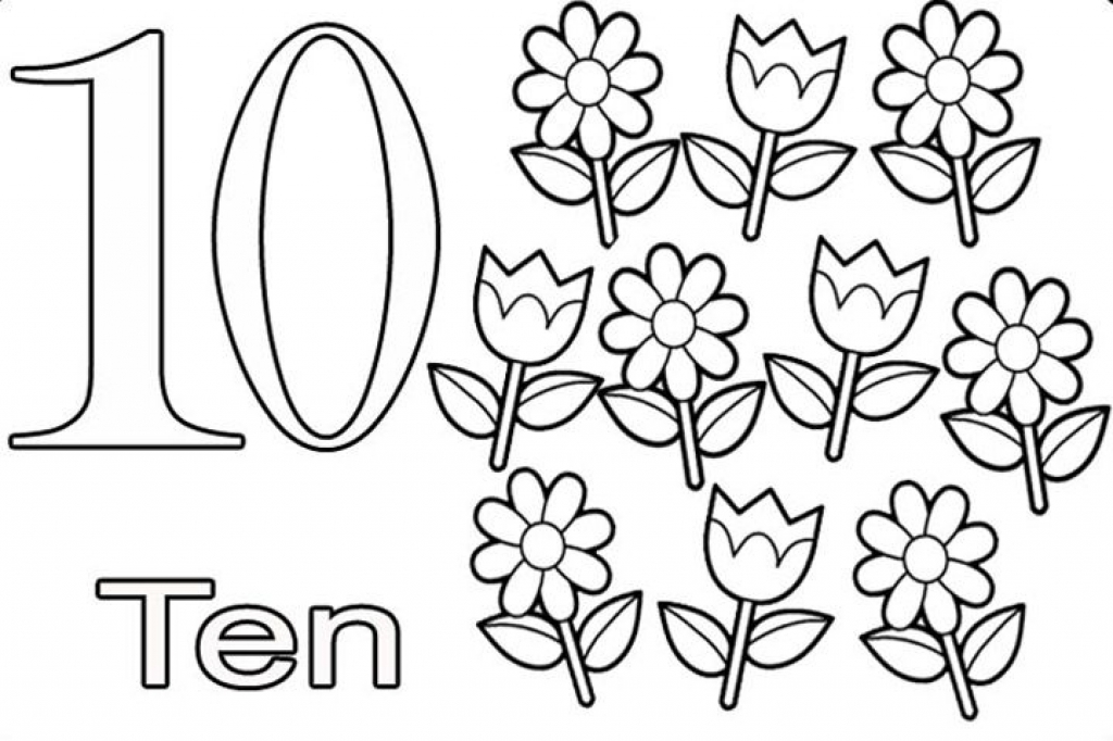 Number ten learning to write simple handwriting number for Ten coloring page