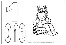 Number One : Learning to Write Simple Handwriting Number 1 Colouring Page