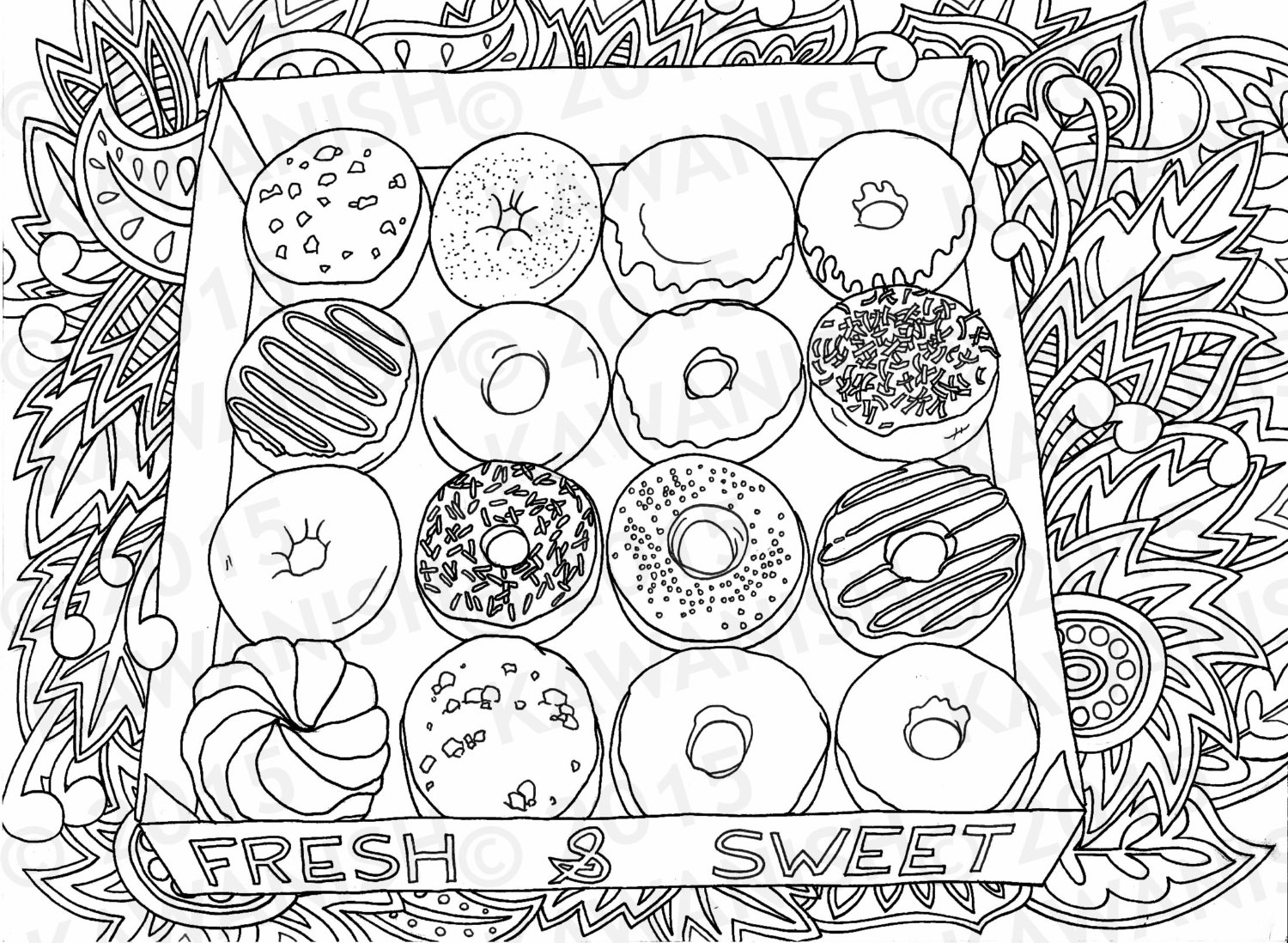 Variety Decorated Donuts Colouring Pages - Picolour