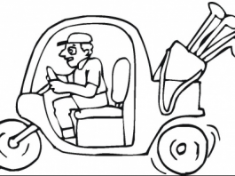 Golf Cart Colouring Pages