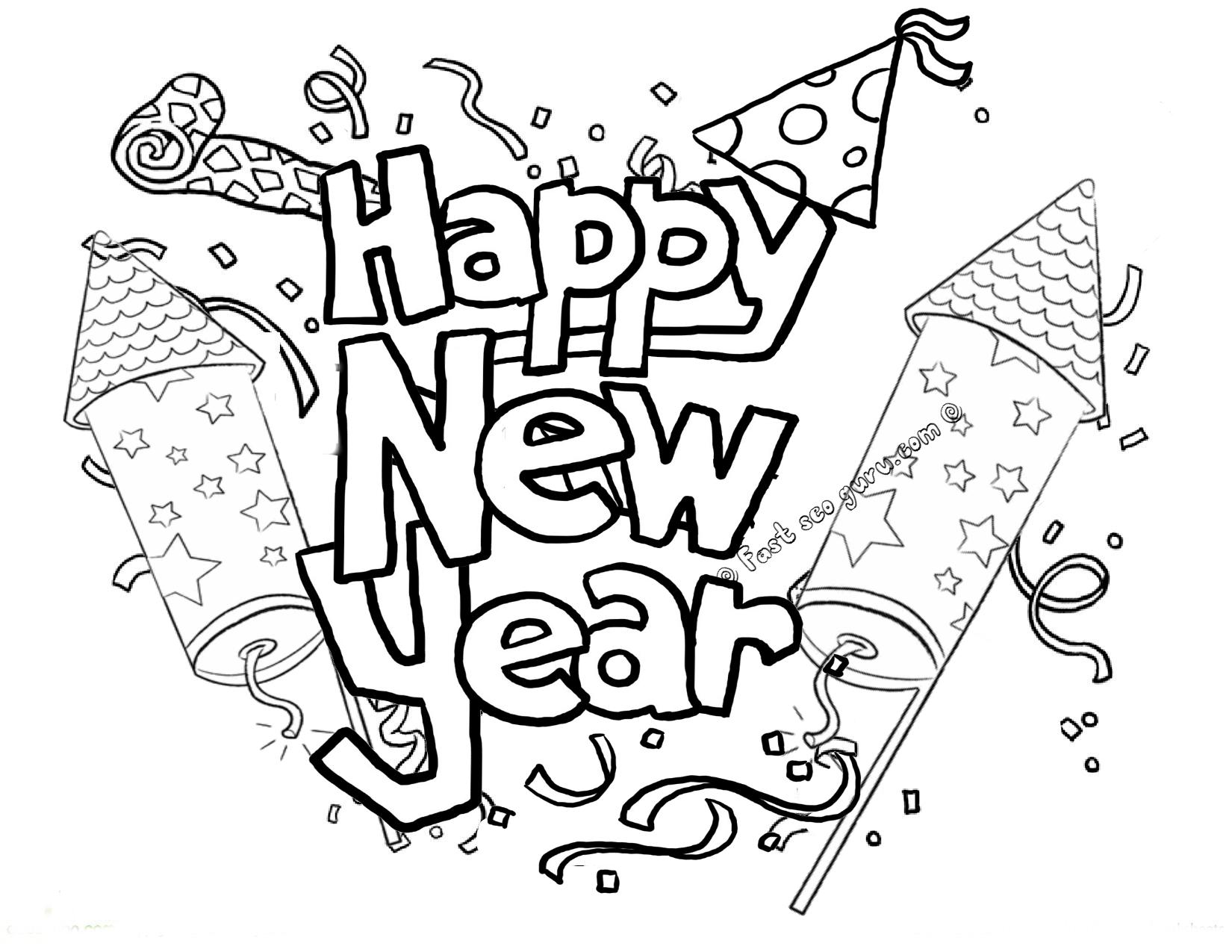 Joyful New Year Celebration Colouring Pages - Picolour