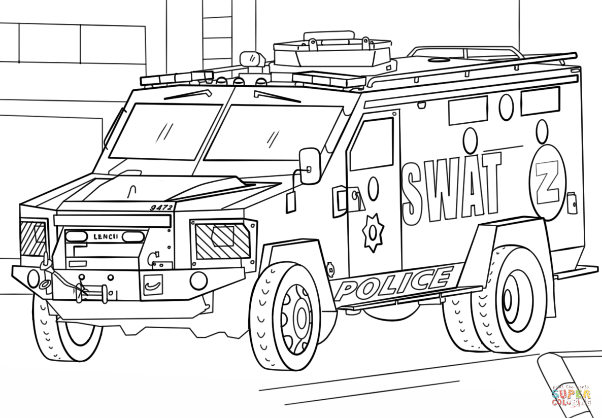 trucks coloring page - elite and armored police swat truck coloring pages picolour