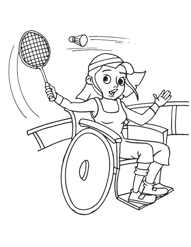 Girl playing badminton on wheelchair colouring pages for Badminton coloring pages