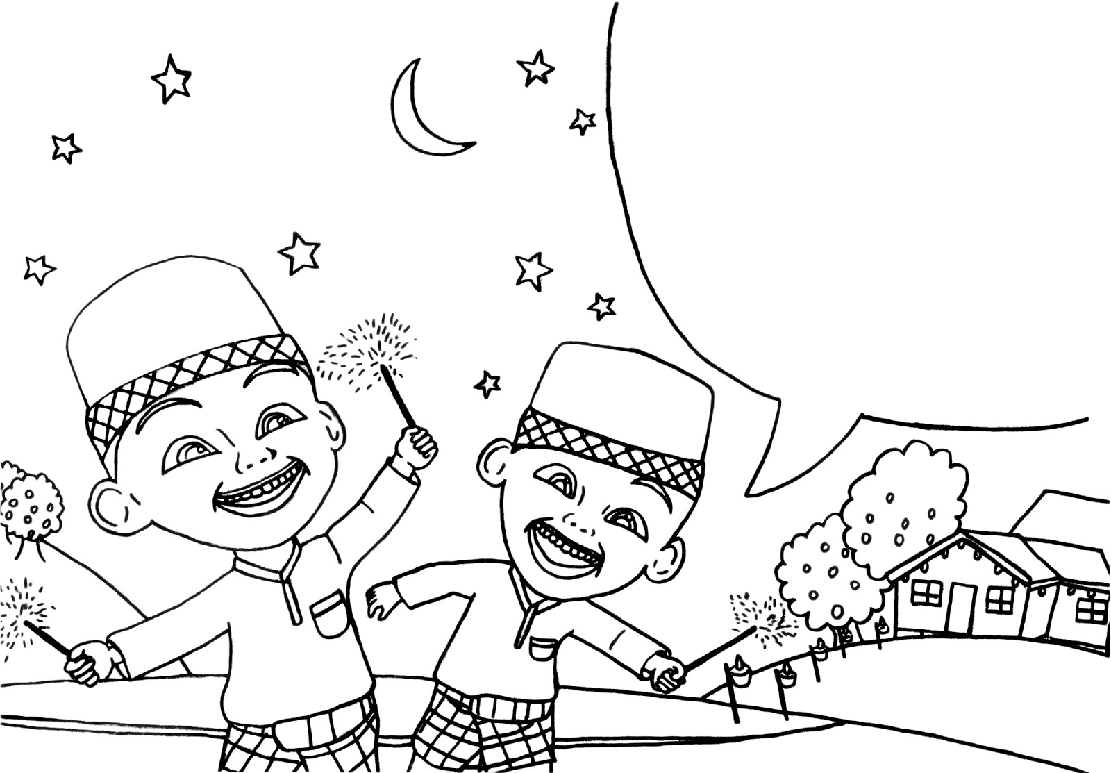 Upin Ipin Celebrating Eid Al Fitr Colouring Pages