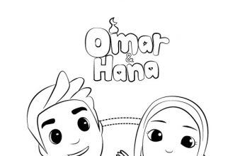 Very Cute Omar Hana Colouring Pages for Kids
