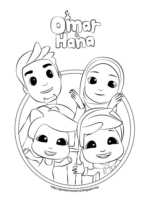 Very Cute Omar Hana Colouring Pages